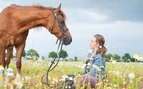 Картинка девушка, конь, ромашки