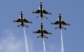 Обои Fighting falcon, USAF, пилотажная группа, Thunderbirds, ВВС США, полёт, diamond, ВВС, ромб, самолёт, строй, алмаз, ...
