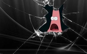 Обои Патрик, разбитый экран, Юмор