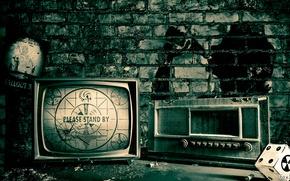 Картинка стол, радио, интерьер, телевизор, Постер