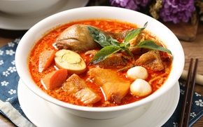 Обои яйцо, суп, мясо, базилик