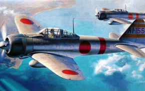 Картинка fighter, art, airplane, painting, Mitsubishi A6M Zero