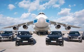 Картинка небо, облака, Porsche, Аэропорт, самолёт, Порше, sky, aircraft, clouds, Cayenne, Грузовой, Ан-124, Руслан, Ruslan, Антонов, …