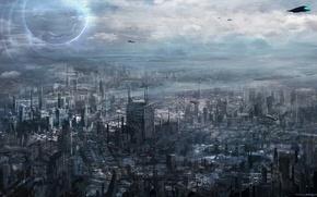 Обои город, будущее, транспорт, арт, мегаполис, cloudminedesign