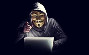 Картинка ноутбук, анонимус, Anonymous, хакер