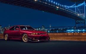 Картинка Nissan, Car, Front, Bridge, New York, NYC, Skyline, Sport, R33, Nigth, Chery