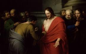 Картинка живопись, христос, рана, painting, апостолы, jesus back, иисус воскрес, красная мантия, фома неверующий