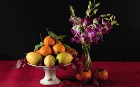 Картинка цветы, лимон, апельсин, ваза, фрукты, натюрморт, хурма