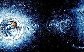 Обои круги, вода, отражение, брызги