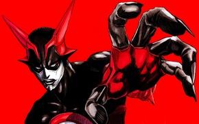 Картинка рука, маска, рога, жест, красный фон, Zetman, Jin Kanzaki