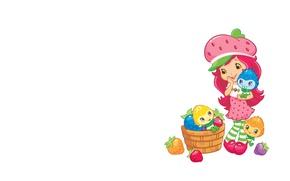 Картинка арт, девочка, корзинка, детская, ягодка. настроение