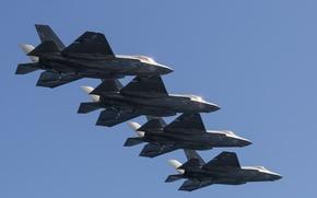 Картинка истребитель, бомбардировщик, строй, Lightning II, F-35C