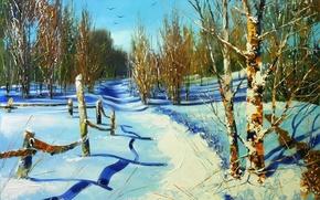 Картинка зима, небо, снег, деревья, пейзаж, птицы, забор, картина, ограда, день, тени, живопись, тропинка, Ходюков