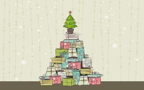 Картинка вектор, подарки, елка, новый год, Christmas illustration, рождество, праздничные обои