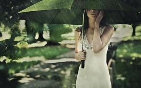 Картинка лето, девушка, дождь, настроение, зонт
