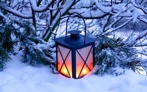 Картинка зима, снег, природа, свечи, фонарь, light, nature, winter, snow, candles