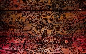 Картинка листья, цветы, фон, дерево, узоры, рисунок, текстура, лепестки, символы, красиво