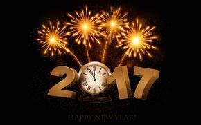Обои полночь, черный, черный фон, время, 2017, новый год, счастливого нового года, золотой, фейерверк, новый 2017 ...