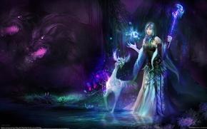 Картинка девушка, магия, существо, арт, Huang DaHong