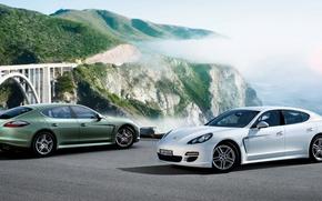 Картинка белый, Porsche, Panamera, зелёный