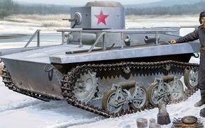 Картинка снег, рисунок, арт, РККА, привал, Т-37А, отдых советских танкистов, типа разведывательный танк, советский малый плавающий …