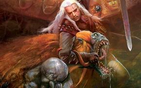 Картинка меч, медальон, the witcher, ведьмак, стрыга