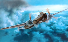 Картинка небо, самолет, рисунок, арт, многоцелевой, немецкий, двухмоторный, WW2, Apaдo Ar 240