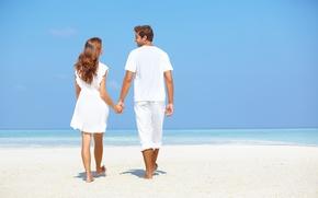 Картинка море, пляж, девушка, романтика, мужчина, влюбленные, Отдых