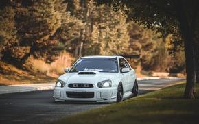 Картинка turbo, white, wheels, subaru, japan, wrx, impreza, jdm, tuning, power, front, субару, sti, face, импреза, …