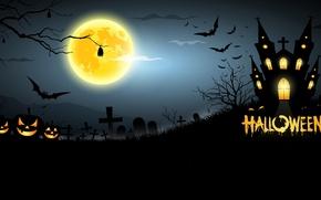 Картинка дом, кладбище, тыквы, ужас, horror, Хэллоуин, house, страшно, halloween, полночь, bats, pumpkins, midnight, creepy, full …