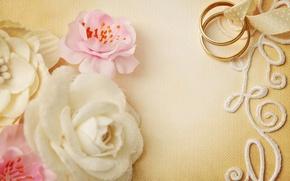 Картинка цветы, flowers, свадьба, кольца, ring, lace, soft, wedding, background