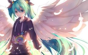 Картинка девушка, улыбка, крылья, ангел, аниме, перья, арт, vocaloid, hatsune miku, Akabane