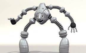Картинка рендеринг, игрушка, робот, пластик, фигурка