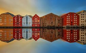 Картинка отражение, дома, Norway, Trondheim