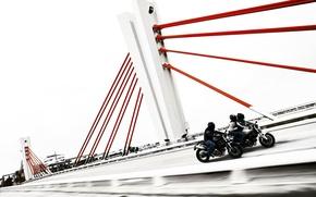 Обои мост, ducati, мотоциклисты