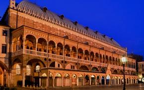 Картинка ночь, огни, Италия, Падуя, Палаццо делла Раджоне
