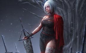 Обои воин, стрелы, дерево, кровь, меч, девушка, фантастика, повязка, белые волосы