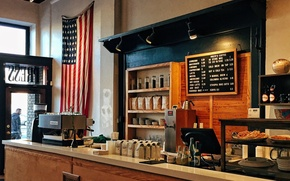 Картинка USA, United States, flag, counter, Ohio, America, Dayton, United States of America, coffee machine, beverages, …