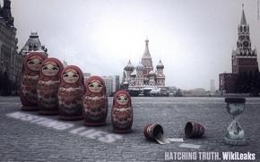 Обои свобода слова, матрешки, Москва, кремль, WikiLeaks, красная площадь