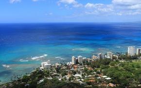 Картинка город, океан, высотки, гавайи, hawaii, побережье., гонолулу