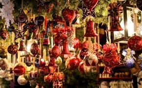 Обои украшения, игрушки, Новый Год, Рождество