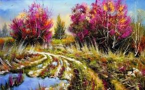 Картинка дорога, деревья, пейзаж, картина, весна, утро, лужи, живопись, Ходюков, мастихин