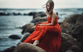 Картинка Girl, Light, Red, Nature, Clouds, Sky, Beautiful, Model, Blue, Beach, Water, White, Female, Beauty, View, …