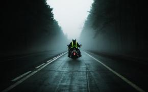 Картинка дорога, туман, путь, серость, мотоциклы, настроения, скорость, мотоцикл, водитель, байк, mood