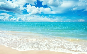 Обои песок, море, пляж, лето, небо, облака, пейзаж, горизонт, бирюза, Blue sea