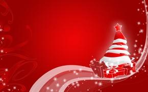 Обои красный, елка, новый год