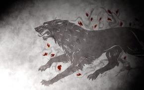 Картинка волк, герб, Game of Thrones, Старк, house of stark