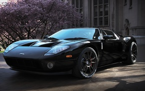 Картинка дерево, чёрный, здание, wheels, ford, black, форд