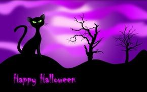 Картинка кошка, ночь, черная, Happy Halloween