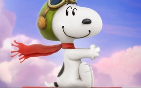 Картинка cinema, sky, puppy, hat, dog, clouds, cartoon, movie, film, cute, sugoi, subarashii, moe, official wallpaper, …